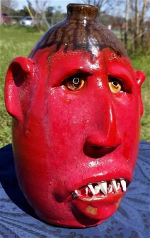 """Billy joe Craven Pottery face Jug beauty signed 10"""""""