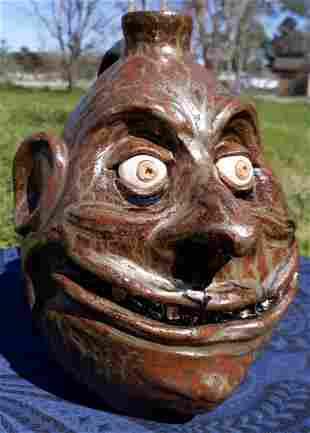 "Lynn Thurman Walton Pottery face Jug 9"""