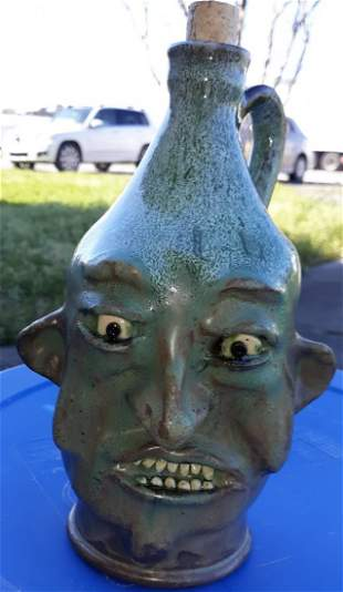 """Tim Whitten Pottery face jug Kentucky 9"""""""