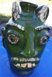 """Bobby Ferguson Rare Devil Pottery face Jug 8"""""""