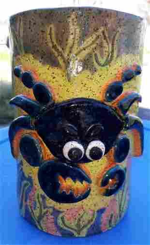 "Paula Harper Pottery crab vessel vase 7"""