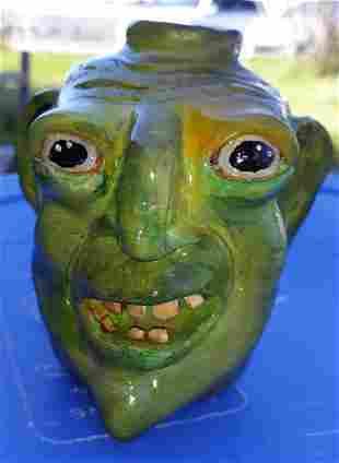 "Kenny & Faye Bradshaw Pottery face Jug 4 1/4"""