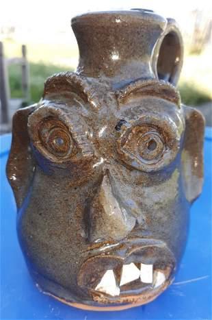 "Marly & Stanley Ferguson Pottery face jug 5 1/2"""