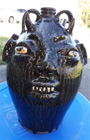 "Marvin Bailey 12 1/2"" Double Devil Pottery Face Jug"