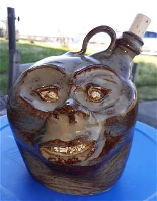 """Teague pottery face jug 1991 rare 8 1/2"""""""