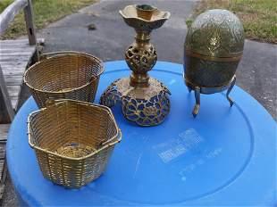 Brass Vintage lot of 4 pcs egg, candle holder, baskets