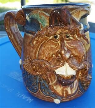 """Jester Joker Pottery face mug jug 5"""""""