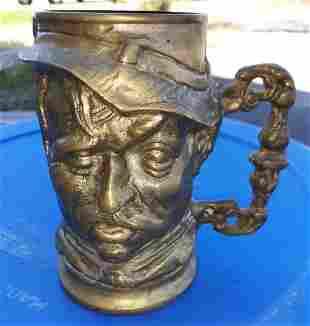 Brass vintage toby style mug tankard