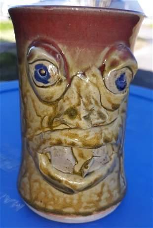 "Kit Vanderwal NC Pottery face mug jug 5"""