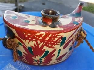 Pottery vtg oriental tea pot jug signed
