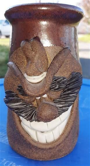 "Cowboy pottery face mug jug 5 1/2"" Nice!"