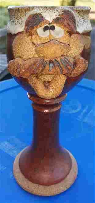 """Eakin pottery face goblet mug jug 8"""" signed"""