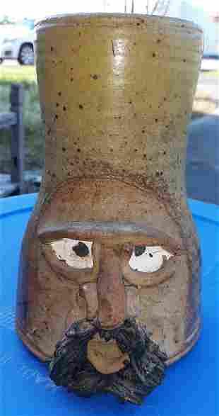 "Jef Barton Pottery face jug mug tankard 8"""