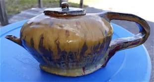"Studio Pottery by VUE drip glaze teapot 10"""