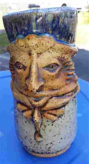 """Studio Pottery face Mug jug 7 1/2"""" beauty!"""
