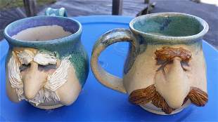 "Pottery face mugs. jugs lot of 2 4"""