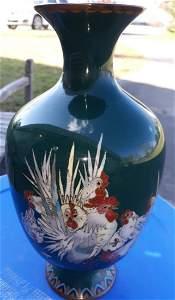 Japanese Cloisonné Vase w/ Cockerels Meiji Period?