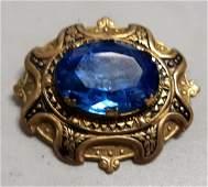 """Brooch estate vintage 2"""" gold wash blue stone"""