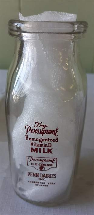 Rare half pint Pensupreme milk bottle lancaster,york,ep