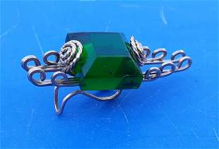 custom made wire wrap & green stone tie clip