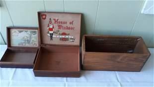 Dovetail wood boxes lot of 3 cigar & fruit estate