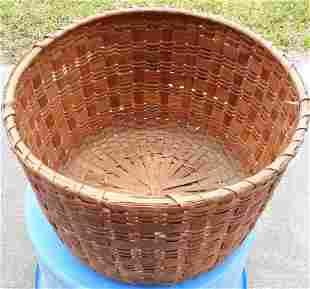 """antique /vintage? split oak basket large 10 1/2"""" tall"""
