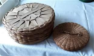 """vintage split oak & needle baskets 12"""" & 7 5/8"""""""