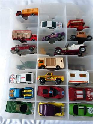 hotwheels, matchbox estate lot 1970's  & up 34 & case