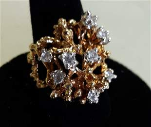Ring vintage 18k HGE  & white sapphires? sz 6 3/4