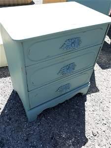 antique oak 3 drawer chest nice Blue! gorgeous