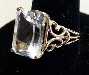 Ring 14K estate JE Caldwell? white sapphire?