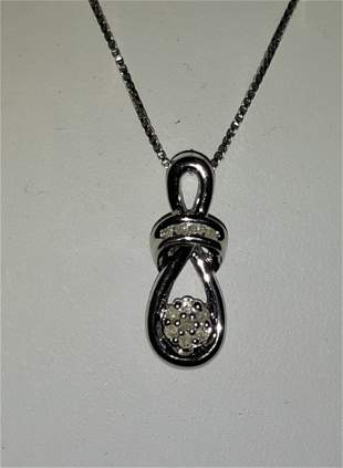 "Necklace sterling silver & diamond  17.5"" long"