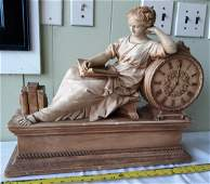 Mid Century Chalkware Lady Reclining w/book Statue