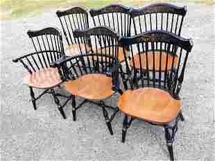 Hitchcock Maple Windsor Fan top Chairs lot of 6 (6x bid