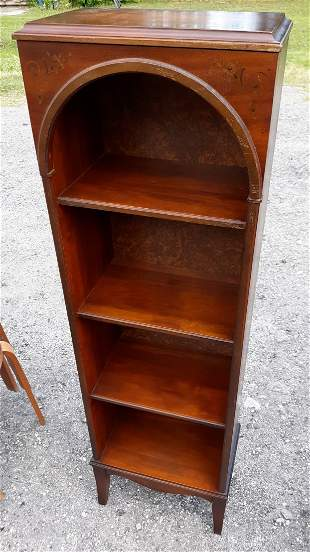 Antique Cathedral Top Bookcase Mahogany Stencil