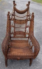 Heywood Wakefield 19th C Wicker Victorian Platform Rock