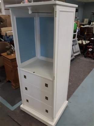 Ethan Allen Cabinet white / blue  Painted!