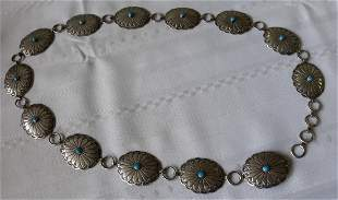 Native American Navaho Sterling  Turquoise Concho Belt!