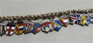 Sterling & enamel Charms bracelet Germany vtg