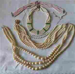 vintage Pearls necklaces, chokers lot of 5