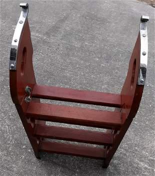 vintage mahogany / teak ? 6 step boat folding ladder