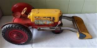 "Marx rare 17 1/2"" tractor 1940's? tin litho toy Nice!"