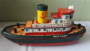 vintage tin litho tug boat batttery op neptune 1957?