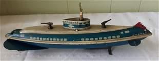 vintage key wind tin litho submarine wolverine works!