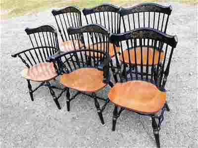 Hitchcock Maple Windsor Fan top Chairs lot of 6