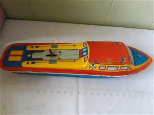 vintage tin litho wind up boat by ohio art nice!