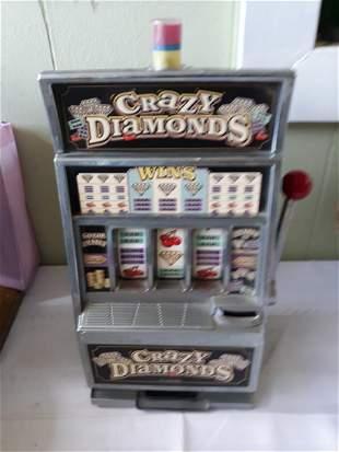 "crazy diamonds slot machine 15"" tall replica bank"