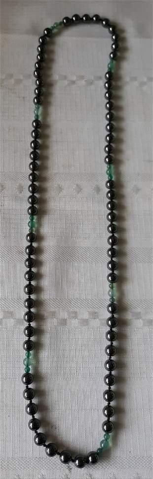 "Hematite & jade? necklace 30"" beauty"