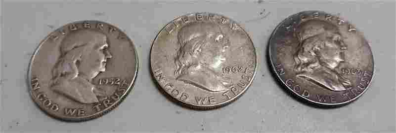 Ben Franklin silver 3 half dollar US coins 52D, 62, 63D