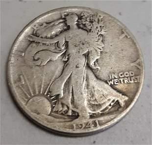 walking liberty silver half US dollar 1941 fine
